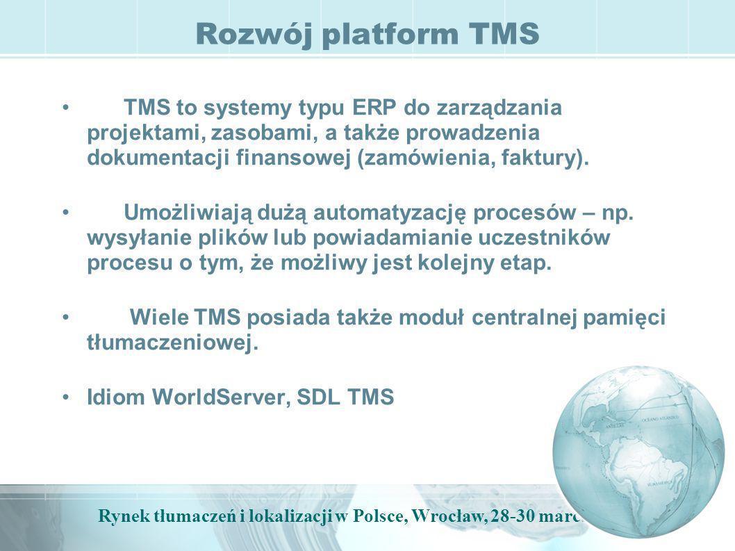 Rynek tłumaczeń i lokalizacji w Polsce, Wrocław, 28-30 marca, 2009 Rozwój platform TMS TMS to systemy typu ERP do zarządzania projektami, zasobami, a także prowadzenia dokumentacji finansowej (zamówienia, faktury).