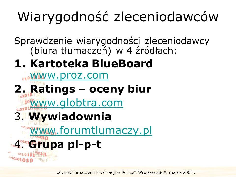 Rynek tłumaczeń i lokalizacji w Polsce, Wrocław 28-29 marca 2009r. Wiarygodność zleceniodawców Sprawdzenie wiarygodności zleceniodawcy (biura tłumacze