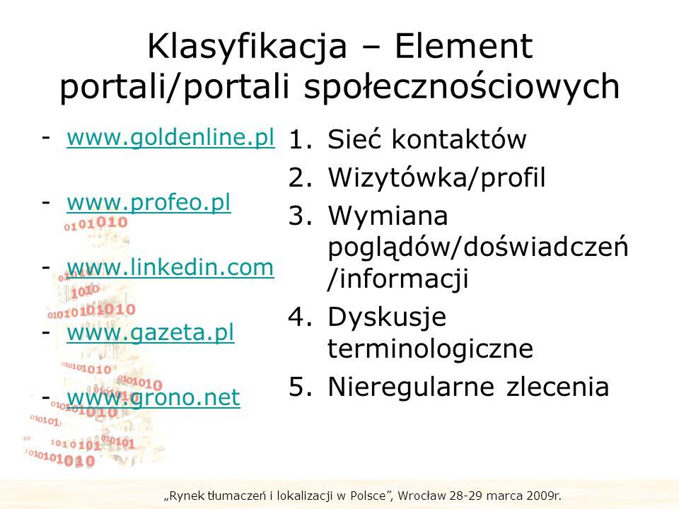 Rynek tłumaczeń i lokalizacji w Polsce, Wrocław 28-29 marca 2009r. Klasyfikacja – Element portali/portali społecznościowych -www.goldenline.plwww.gold