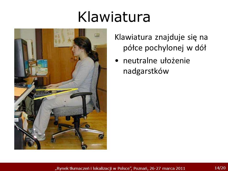 14/20 Rynek tłumaczeń i lokalizacji w Polsce, Poznań, 26-27 marca 2011 Klawiatura Klawiatura znajduje się na półce pochylonej w dół neutralne ułożenie