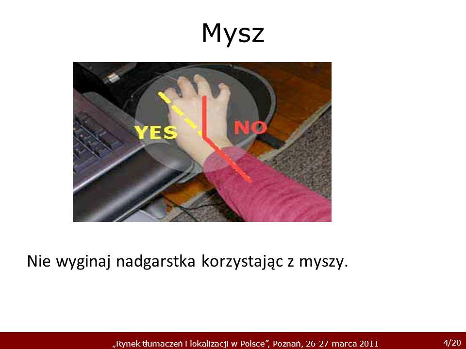 15/20 Rynek tłumaczeń i lokalizacji w Polsce, Poznań, 26-27 marca 2011 Klawiatura NIE korzystaj z podpórki pod nadgarstek.