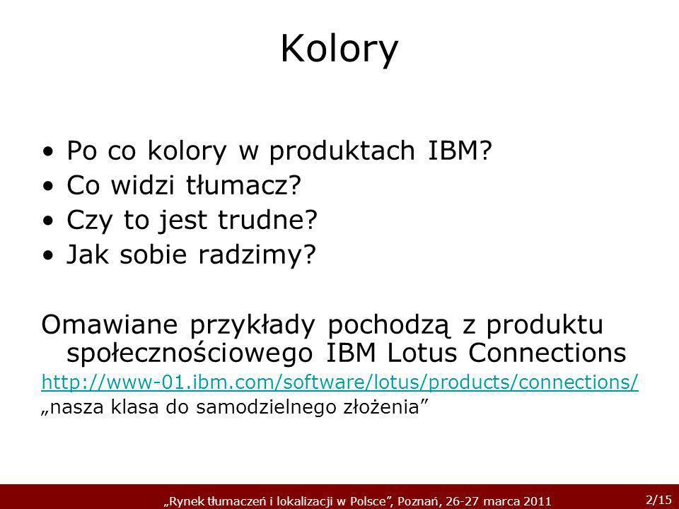 3/15 Rynek tłumaczeń i lokalizacji w Polsce, Poznań, 26-27 marca 2011 Po co kolory?