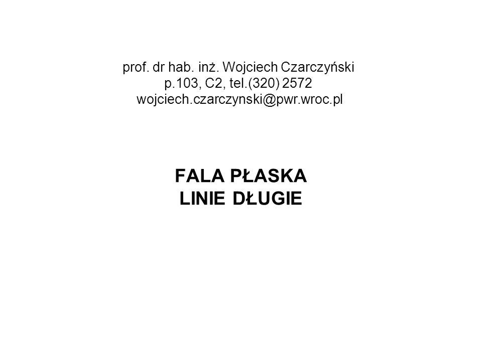 FALA PŁASKA LINIE DŁUGIE prof. dr hab. inż. Wojciech Czarczyński p.103, C2, tel.(320) 2572 wojciech.czarczynski@pwr.wroc.pl
