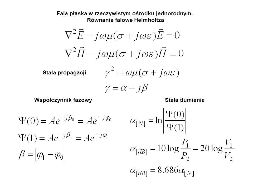 Fala płaska w rzeczywistym ośrodku jednorodnym. Równania falowe Helmholtza Stała propagacji Stała tłumieniaWspółczynnik fazowy