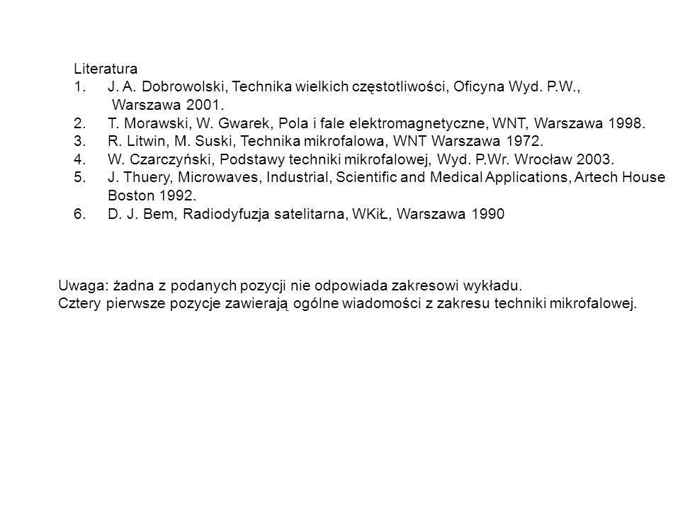 Literatura 1.J. A. Dobrowolski, Technika wielkich częstotliwości, Oficyna Wyd. P.W., Warszawa 2001. 2.T. Morawski, W. Gwarek, Pola i fale elektromagne