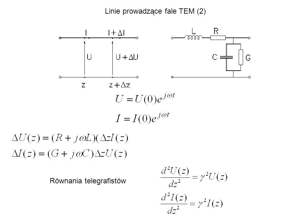 Równania telegrafistów Linie prowadzące fale TEM (2)