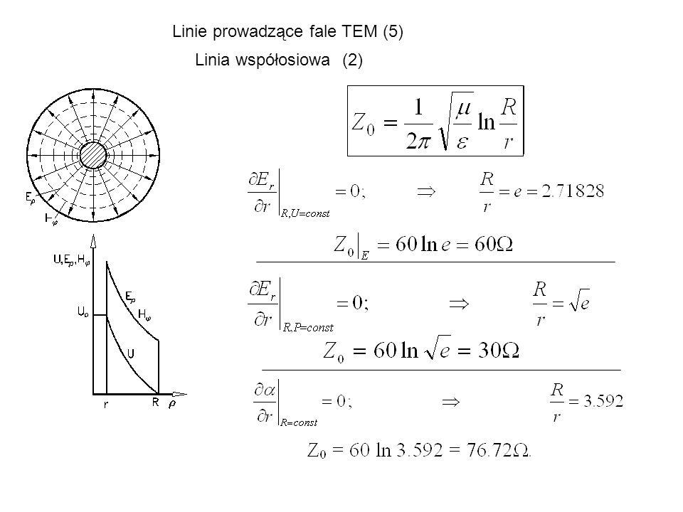 Linie prowadzące fale TEM (5) Linia współosiowa (2)