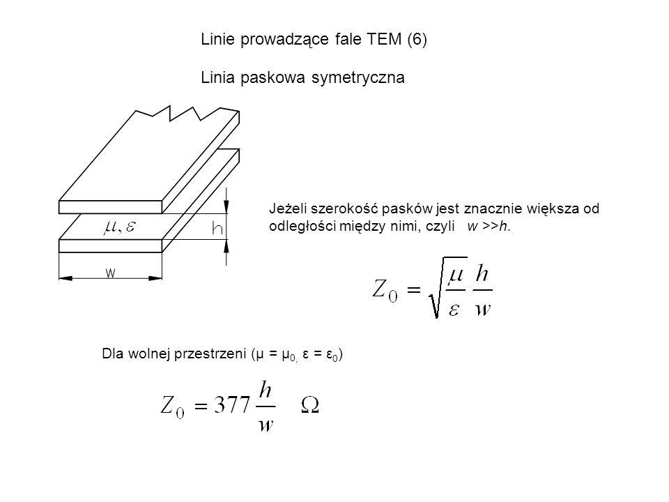 Linie prowadzące fale TEM (6) Linia paskowa symetryczna Jeżeli szerokość pasków jest znacznie większa od odległości między nimi, czyli w >>h. Dla woln