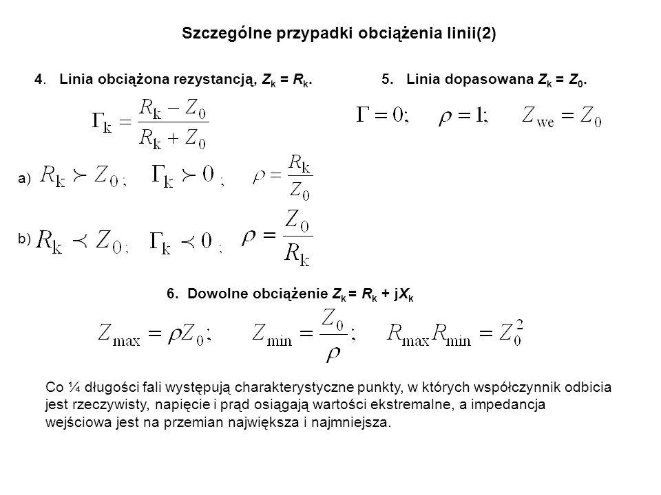 Szczególne przypadki obciążenia linii(2) 4. Linia obciążona rezystancją, Z k = R k. a) b) 5. Linia dopasowana Z k = Z 0. 6. Dowolne obciążenie Z k = R