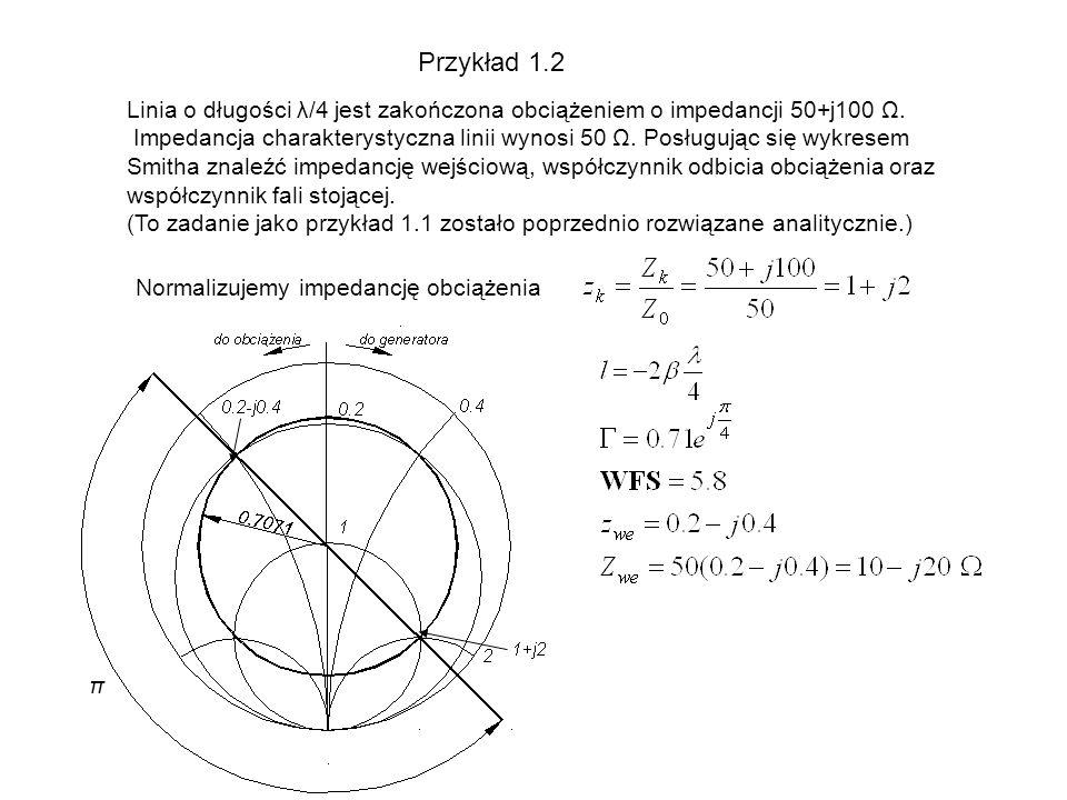 Przykład 1.2 Linia o długości λ/4 jest zakończona obciążeniem o impedancji 50+j100 Ω. Impedancja charakterystyczna linii wynosi 50 Ω. Posługując się w