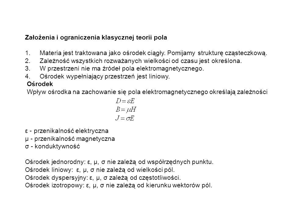 Założenia i ograniczenia klasycznej teorii pola 1.Materia jest traktowana jako ośrodek ciągły. Pomijamy strukturę cząsteczkową. 2.Zależność wszystkich