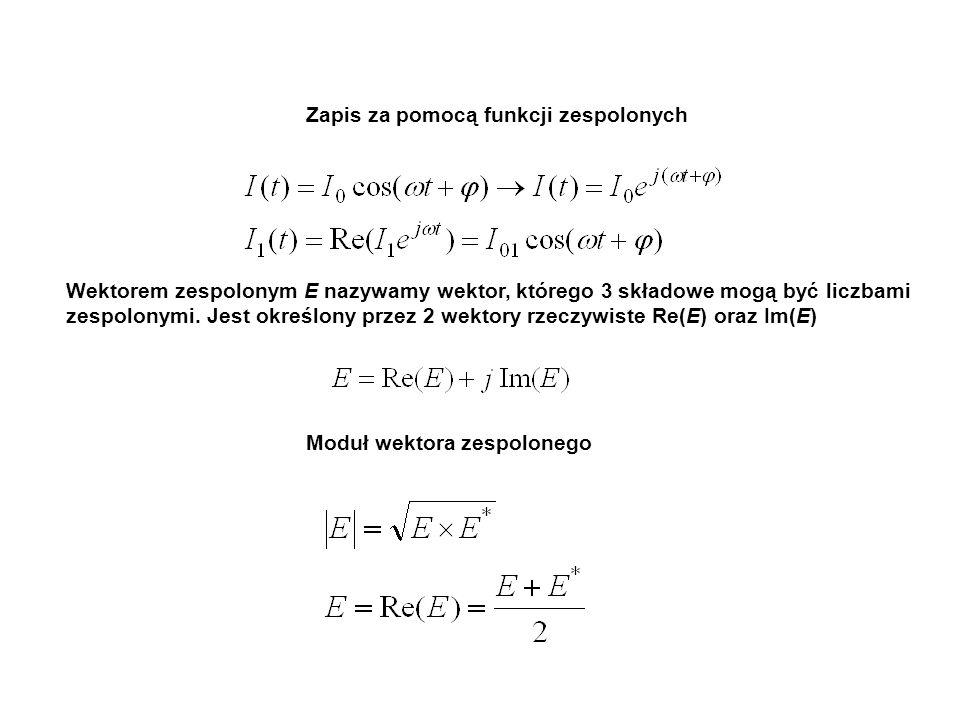 Zapis za pomocą funkcji zespolonych Wektorem zespolonym E nazywamy wektor, którego 3 składowe mogą być liczbami zespolonymi. Jest określony przez 2 we