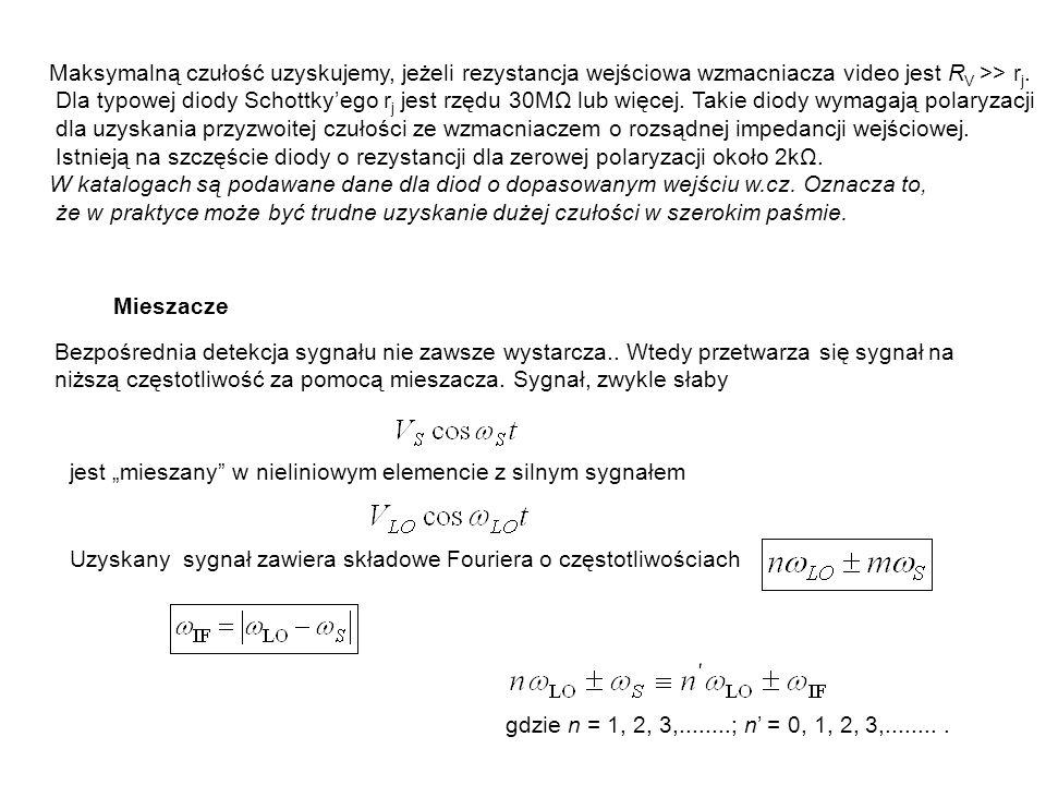 Maksymalną czułość uzyskujemy, jeżeli rezystancja wejściowa wzmacniacza video jest R V >> r j. Dla typowej diody Schottkyego r j jest rzędu 30MΩ lub w