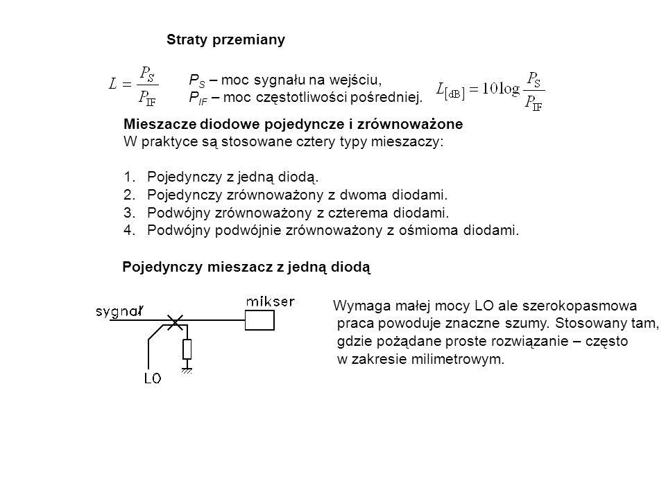Straty przemiany P S – moc sygnału na wejściu, P IF – moc częstotliwości pośredniej. Mieszacze diodowe pojedyncze i zrównoważone W praktyce są stosowa