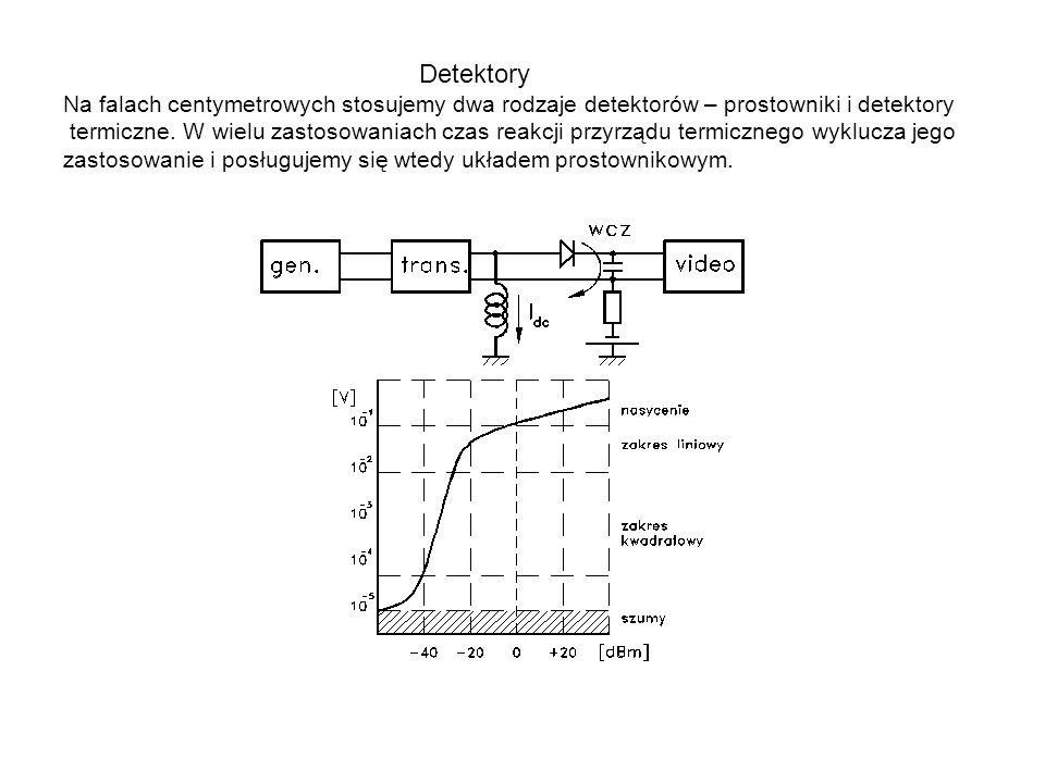 Detektory Na falach centymetrowych stosujemy dwa rodzaje detektorów – prostowniki i detektory termiczne. W wielu zastosowaniach czas reakcji przyrządu