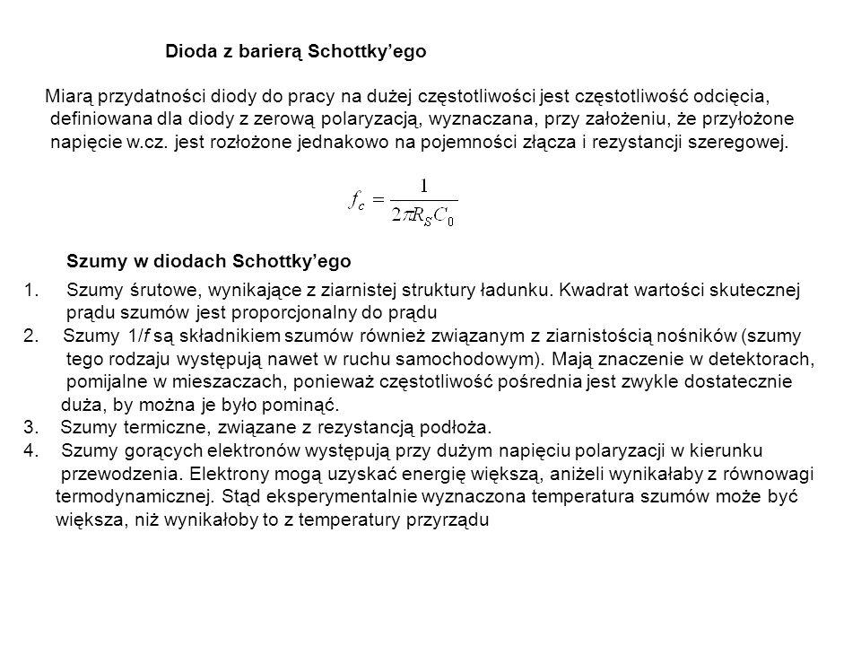 Dioda z barierą Schottkyego Miarą przydatności diody do pracy na dużej częstotliwości jest częstotliwość odcięcia, definiowana dla diody z zerową pola