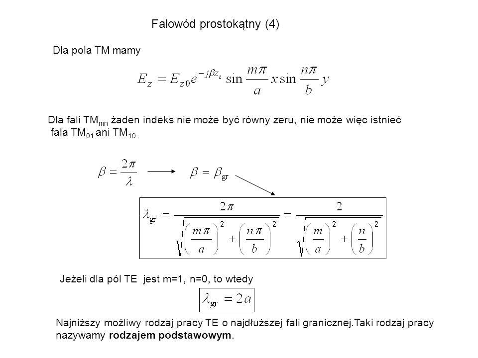 Dla pola TM mamy Dla fali TM mn żaden indeks nie może być równy zeru, nie może więc istnieć fala TM 01 ani TM 10. Jeżeli dla pól TE jest m=1, n=0, to