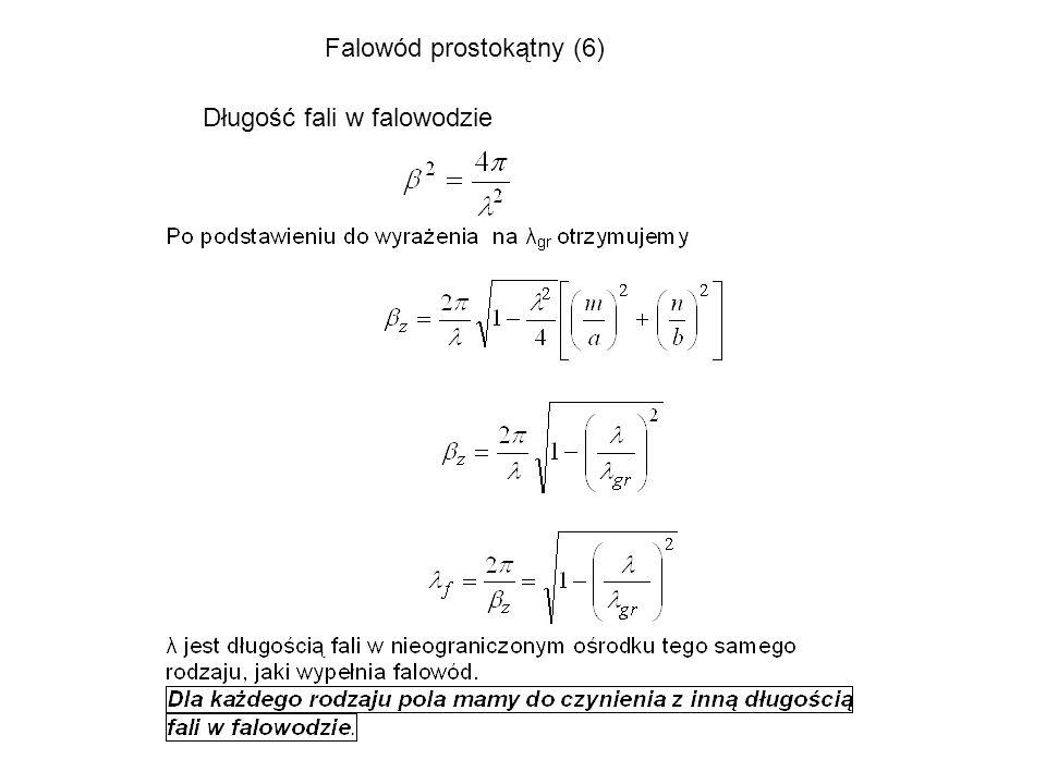 Długość fali w falowodzie Falowód prostokątny (6)
