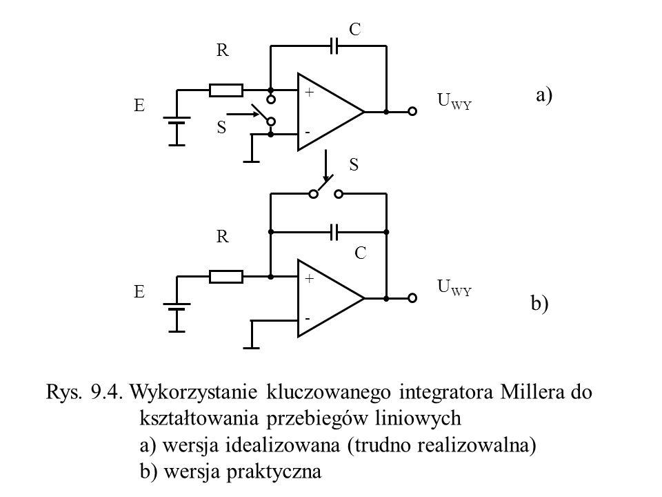 + - S R C U WY E + - S R C E Rys. 9.4. Wykorzystanie kluczowanego integratora Millera do kształtowania przebiegów liniowych a) wersja idealizowana (tr