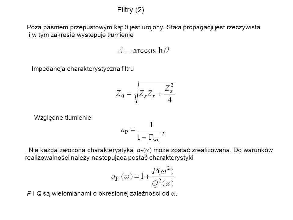 Charakterystyka Butterwortha Charakterystyka Czebyszewa gdzie t 2 oznacza maksymalne tłumienie w paśmie przenoszenia filtru.