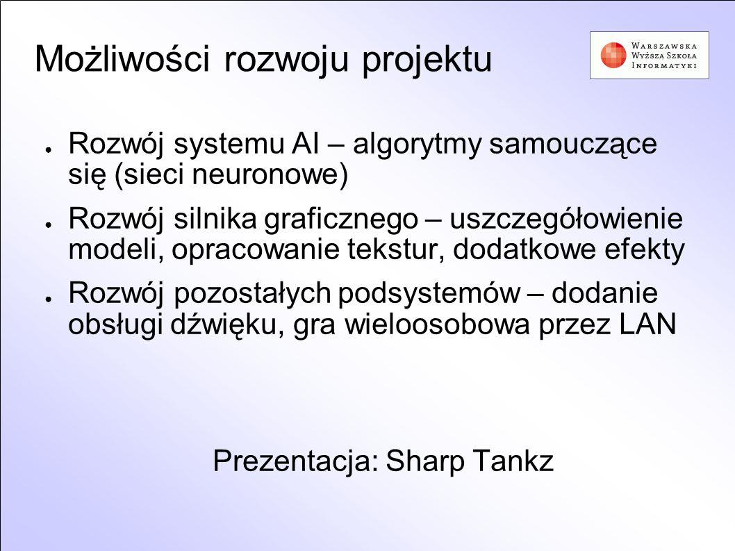 Możliwości rozwoju projektu Rozwój systemu AI – algorytmy samouczące się (sieci neuronowe) Rozwój silnika graficznego – uszczegółowienie modeli, oprac