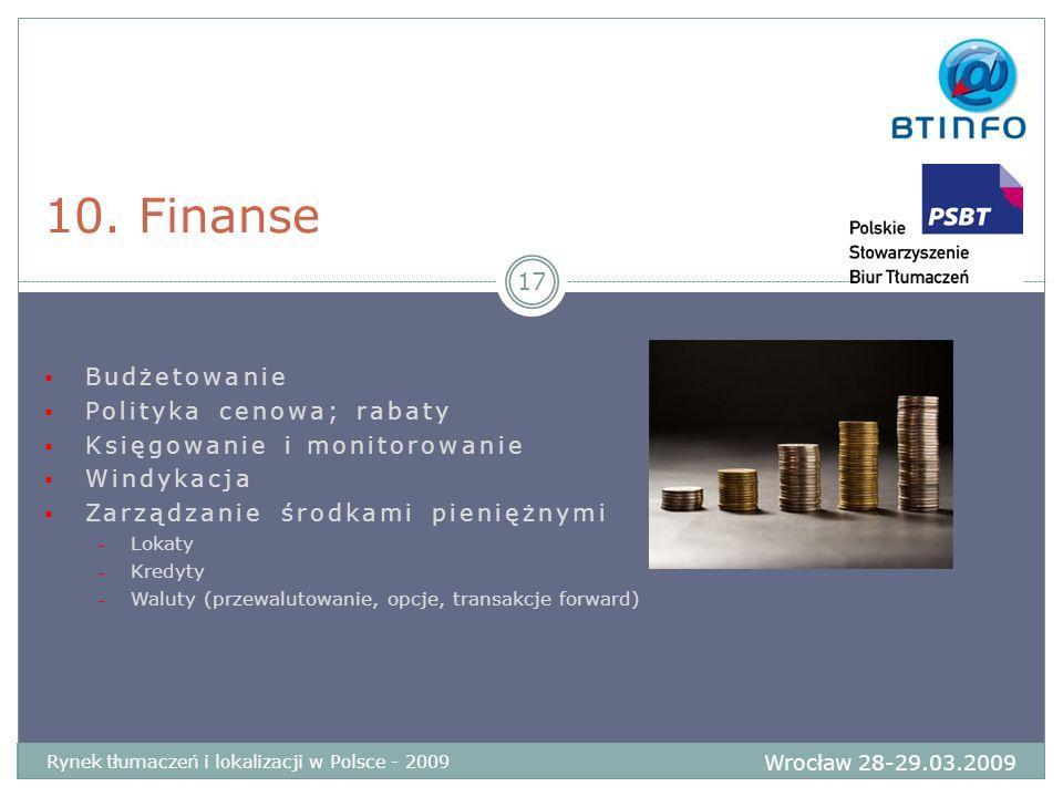 Budżetowanie Polityka cenowa; rabaty Księgowanie i monitorowanie Windykacja Zarządzanie środkami pieniężnymi – Lokaty – Kredyty – Waluty (przewalutowa