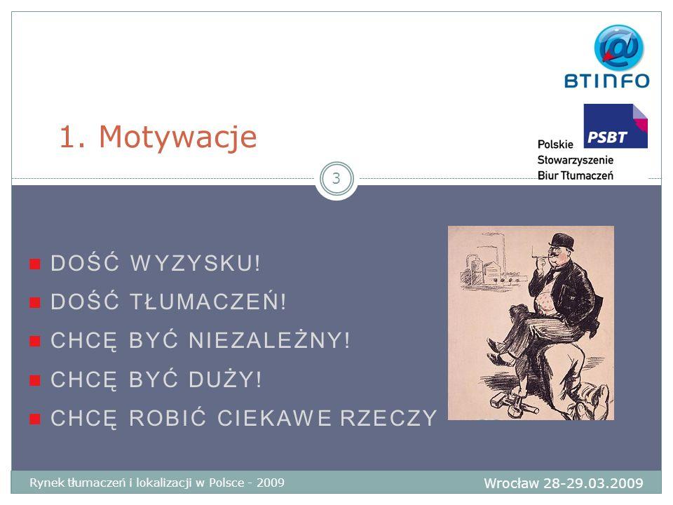 DOŚĆ WYZYSKU! DOŚĆ TŁUMACZEŃ! CHCĘ BYĆ NIEZALEŻNY! CHCĘ BYĆ DUŻY! CHCĘ ROBIĆ CIEKAWE RZECZY 1. Motywacje Wrocław 28-29.03.2009 Rynek tłumaczeń i lokal