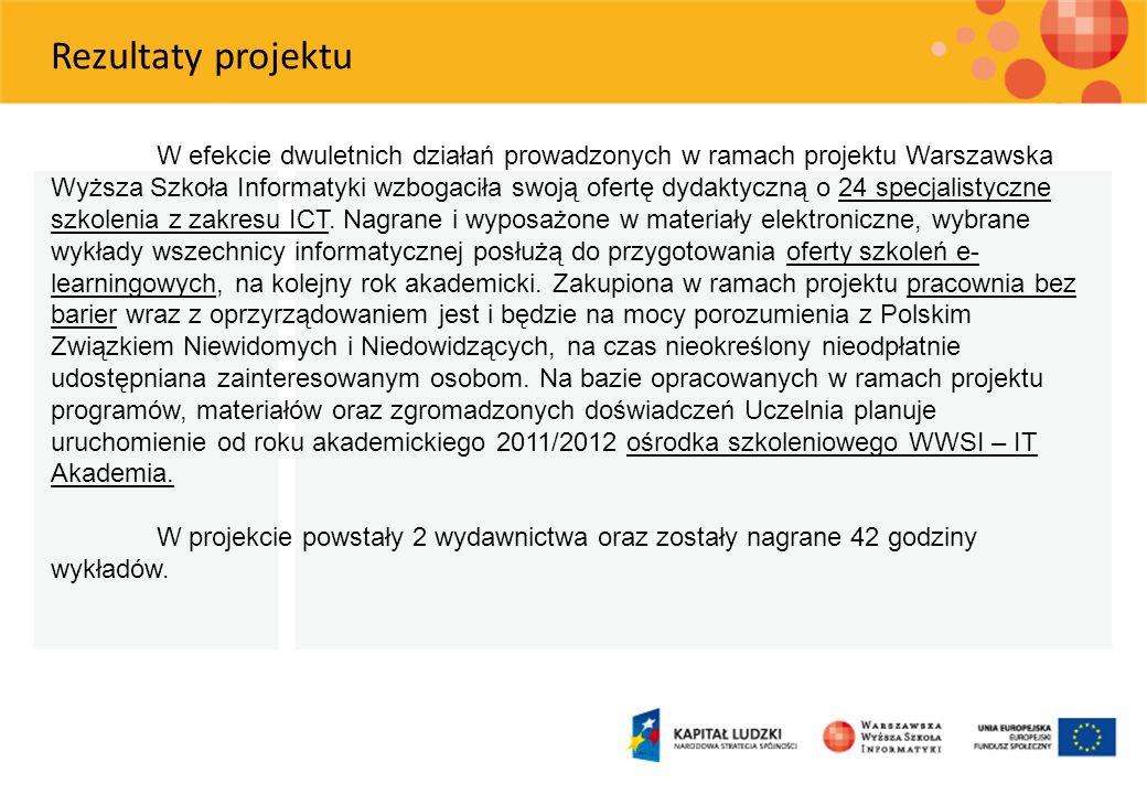 W efekcie dwuletnich działań prowadzonych w ramach projektu Warszawska Wyższa Szkoła Informatyki wzbogaciła swoją ofertę dydaktyczną o 24 specjalistyc