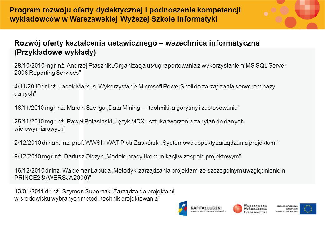 Program rozwoju oferty dydaktycznej i podnoszenia kompetencji wykładowców w Warszawskiej Wyższej Szkole Informatyki Rozwój oferty kształcenia ustawicz