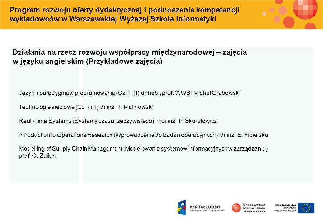 Program rozwoju oferty dydaktycznej i podnoszenia kompetencji wykładowców w Warszawskiej Wyższej Szkole Informatyki Działania na rzecz rozwoju współpr