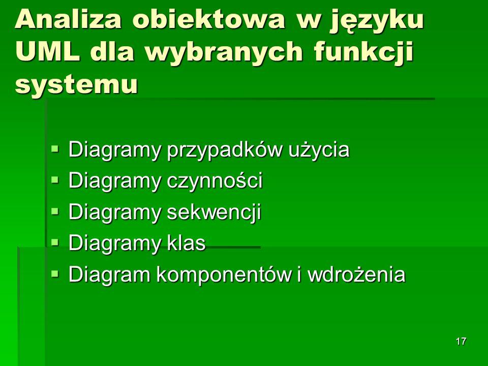 17 Analiza obiektowa w języku UML dla wybranych funkcji systemu Diagramy przypadków użycia Diagramy przypadków użycia Diagramy czynności Diagramy czyn