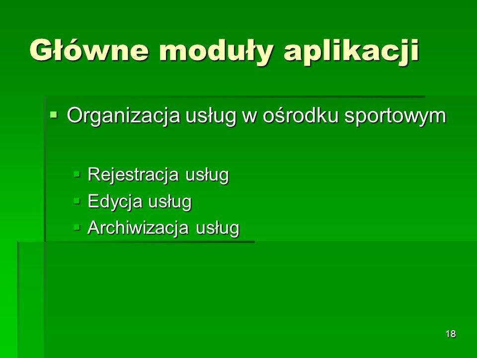 18 Główne moduły aplikacji Organizacja usług w ośrodku sportowym Organizacja usług w ośrodku sportowym Rejestracja usług Rejestracja usług Edycja usłu
