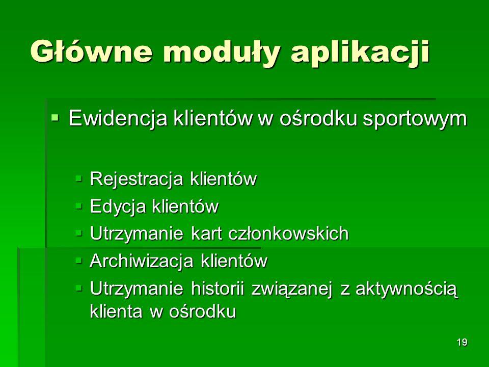 19 Główne moduły aplikacji Ewidencja klientów w ośrodku sportowym Ewidencja klientów w ośrodku sportowym Rejestracja klientów Rejestracja klientów Edy