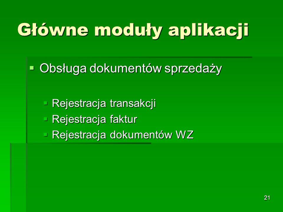 21 Główne moduły aplikacji Obsługa dokumentów sprzedaży Obsługa dokumentów sprzedaży Rejestracja transakcji Rejestracja transakcji Rejestracja faktur