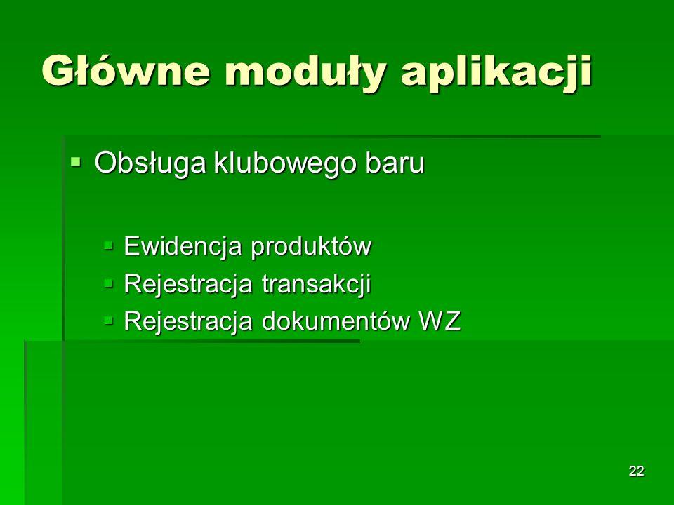22 Główne moduły aplikacji Obsługa klubowego baru Obsługa klubowego baru Ewidencja produktów Ewidencja produktów Rejestracja transakcji Rejestracja tr