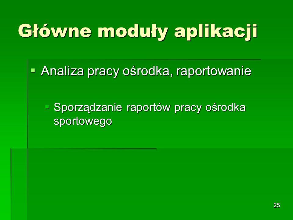 25 Główne moduły aplikacji Analiza pracy ośrodka, raportowanie Analiza pracy ośrodka, raportowanie Sporządzanie raportów pracy ośrodka sportowego Spor