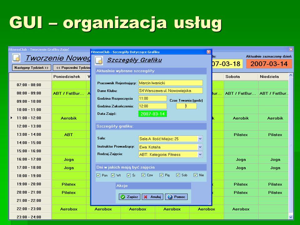 33 GUI – organizacja usług