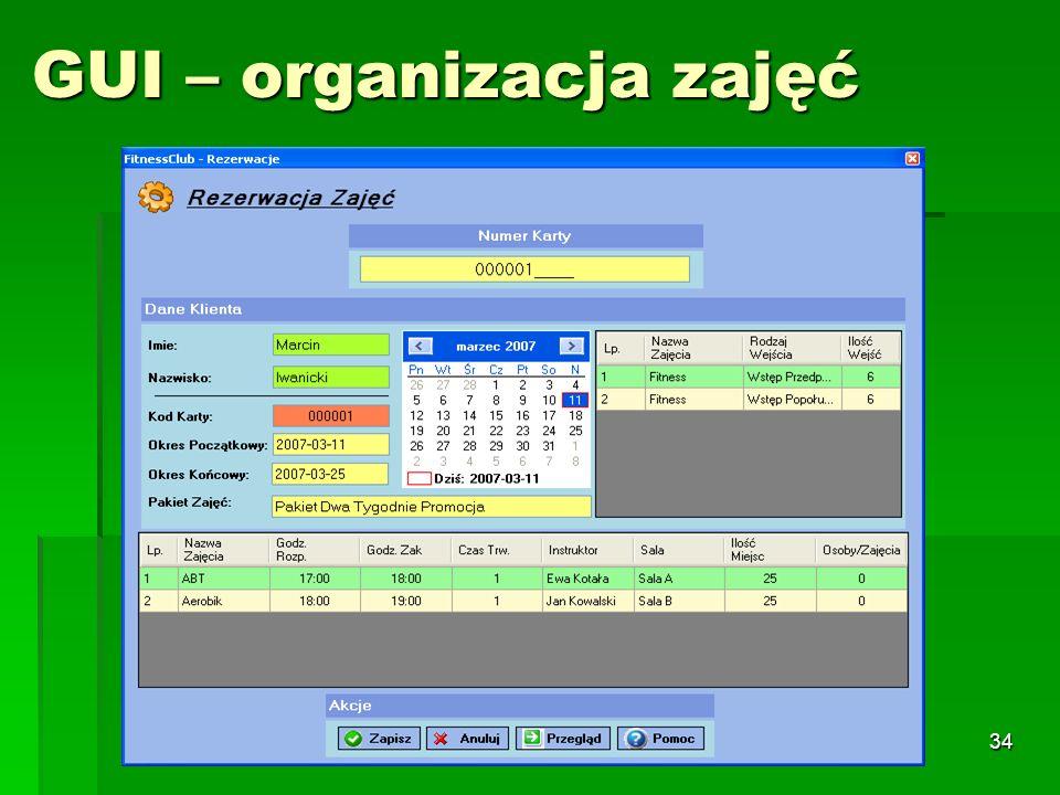 34 GUI – organizacja zajęć