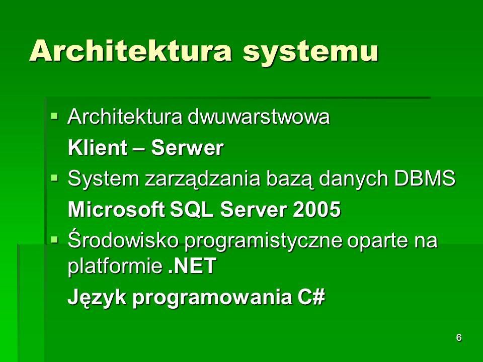 7 Założenia funkcjonalne aplikacji Zarządzanie klientami Zarządzanie klientami (rejestracja klientów indywidualnych i grupowych, rejestracja kart członkowskich, zarządzanie kontami klientów, utrzymanie historii związanej z klientem) Zarządzanie usługami Zarządzanie usługami (rejestracja usług, archiwizacja usług) Zarządzanie zajęciami Zarządzanie zajęciami (rejestracja zajęć, grupowanie zajęć, utrzymanie cennika zajęć, tworzenie pakietów wejściowych, tworzenie grafiku zajęć, dokonywanie rezerwacji na zajęcia) Obsługa ośrodkowego punktu sprzedaży Obsługa ośrodkowego punktu sprzedaży ( produktów, rejestracja transakcji, rejestracja dostaw, ewidencja stanu magazynowego, obsługa pobierania produktów) (rejestracja produktów, rejestracja transakcji, rejestracja dostaw, ewidencja stanu magazynowego, obsługa bezgotówkowego pobierania produktów) Rejestracja sprzedaży Rejestracja sprzedaży (rejestracja dokumentów sprzedaży: paragony, faktury) Raportowanie Raportowanie (tworzenie raportów z pracy ośrodka) Bezpieczeństwo Bezpieczeństwo (kontrola dostępu do poszczególnych funkcji systemu, logowanie zdarzeń systemowych) Wielodostęp Wielodostęp (architektura klient-serwer umożliwiająca jednoczesny dostęp do danych)