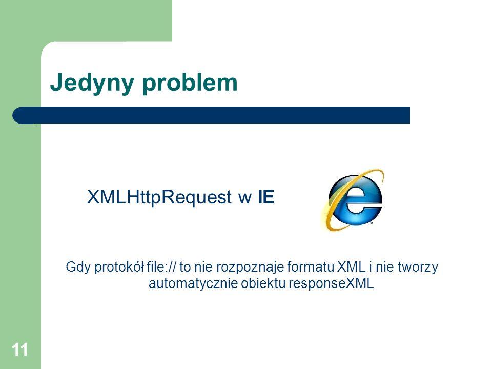 11 Jedyny problem XMLHttpRequest w IE Gdy protokół file:// to nie rozpoznaje formatu XML i nie tworzy automatycznie obiektu responseXML