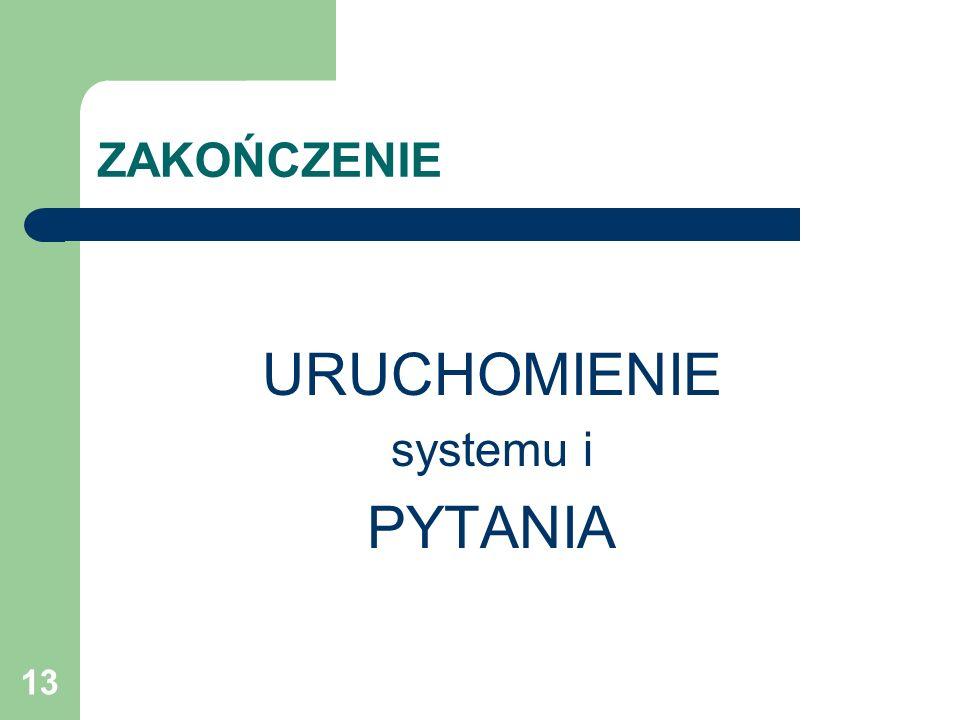 13 ZAKOŃCZENIE URUCHOMIENIE systemu i PYTANIA