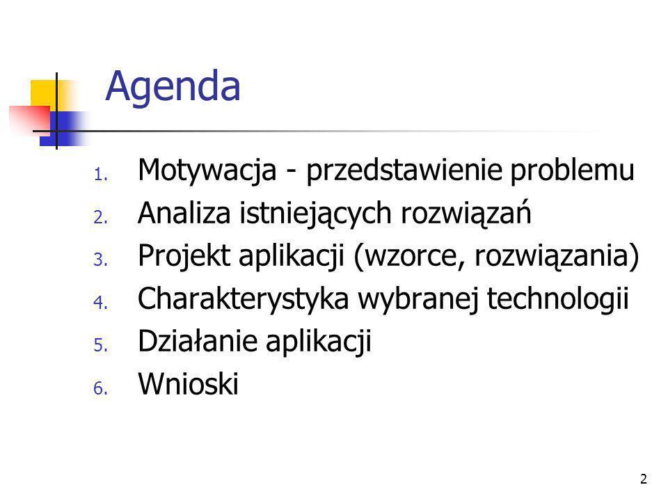 2 Agenda 1. Motywacja - przedstawienie problemu 2. Analiza istniejących rozwiązań 3. Projekt aplikacji (wzorce, rozwiązania) 4. Charakterystyka wybran