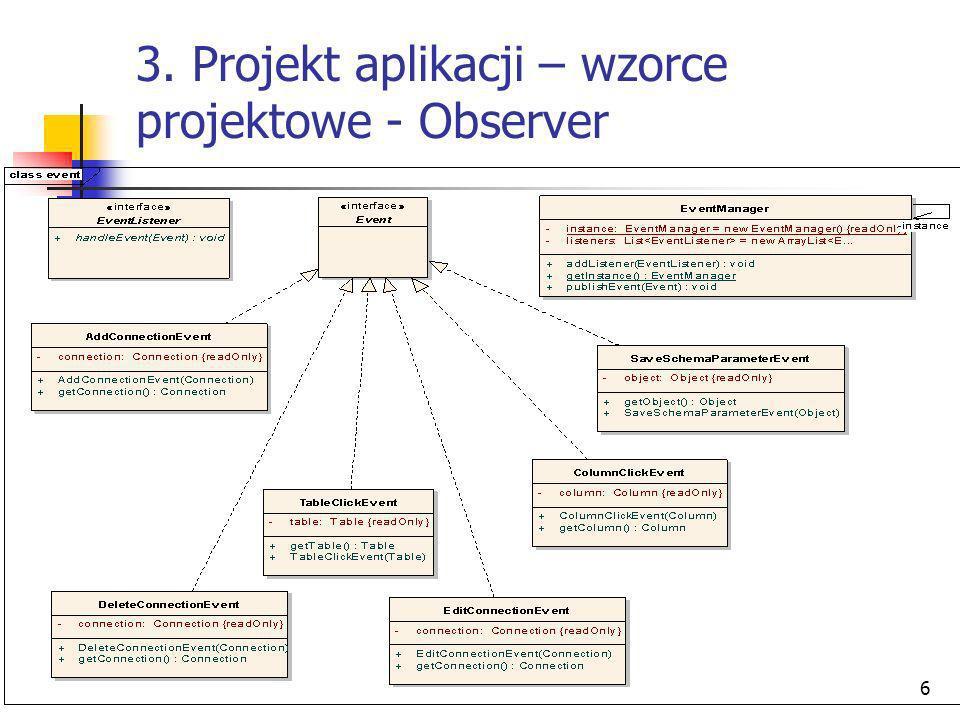 6 3. Projekt aplikacji – wzorce projektowe - Observer