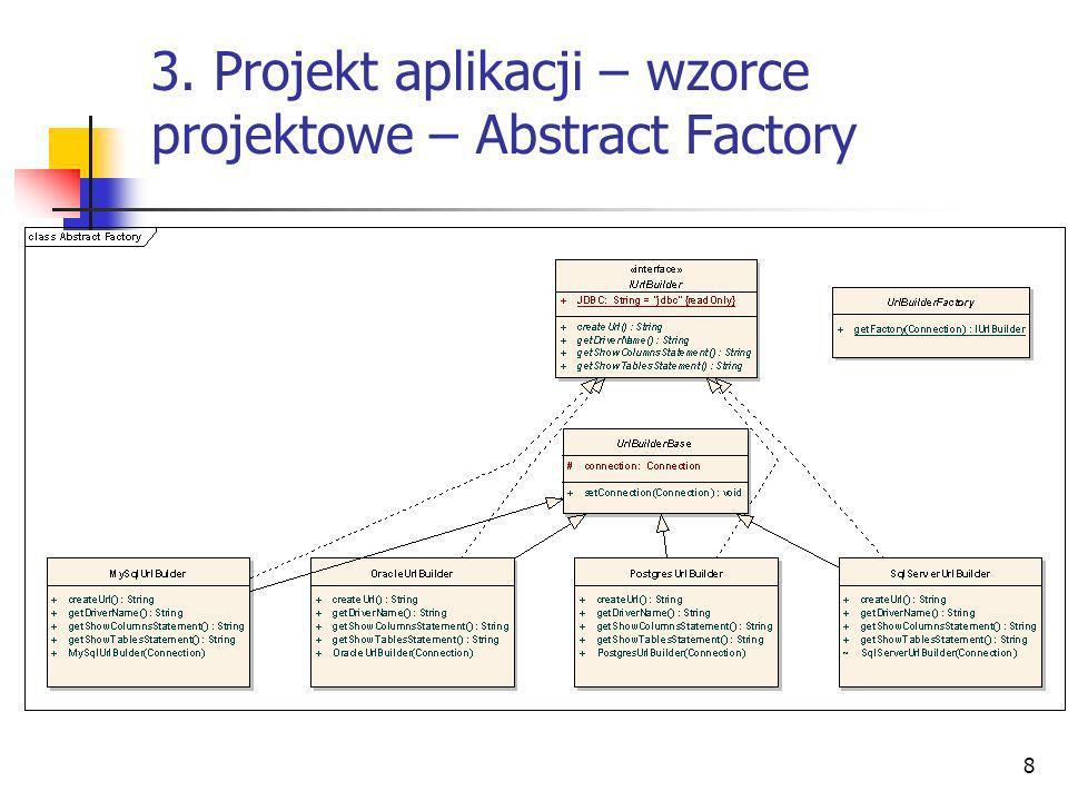 8 3. Projekt aplikacji – wzorce projektowe – Abstract Factory