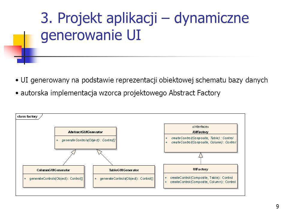 9 3. Projekt aplikacji – dynamiczne generowanie UI UI generowany na podstawie reprezentacji obiektowej schematu bazy danych autorska implementacja wzo