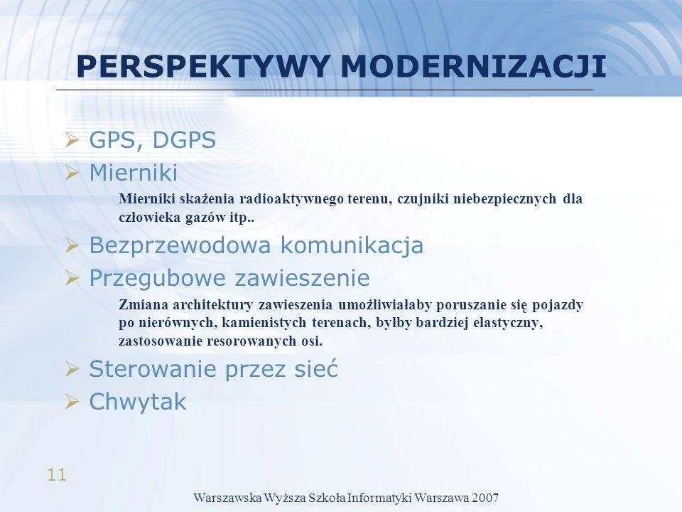 11 PERSPEKTYWY MODERNIZACJI GPS, DGPS Mierniki Mierniki skażenia radioaktywnego terenu, czujniki niebezpiecznych dla człowieka gazów itp.. Bezprzewodo