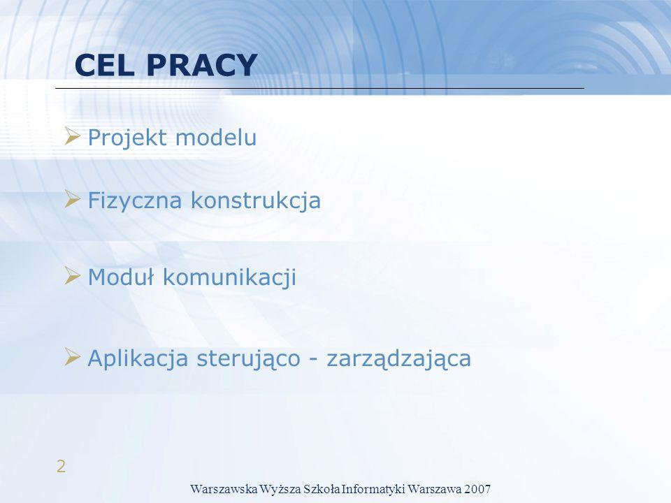 2 CEL PRACY Projekt modelu Fizyczna konstrukcja Moduł komunikacji Aplikacja sterująco - zarządzająca Warszawska Wyższa Szkoła Informatyki Warszawa 2007