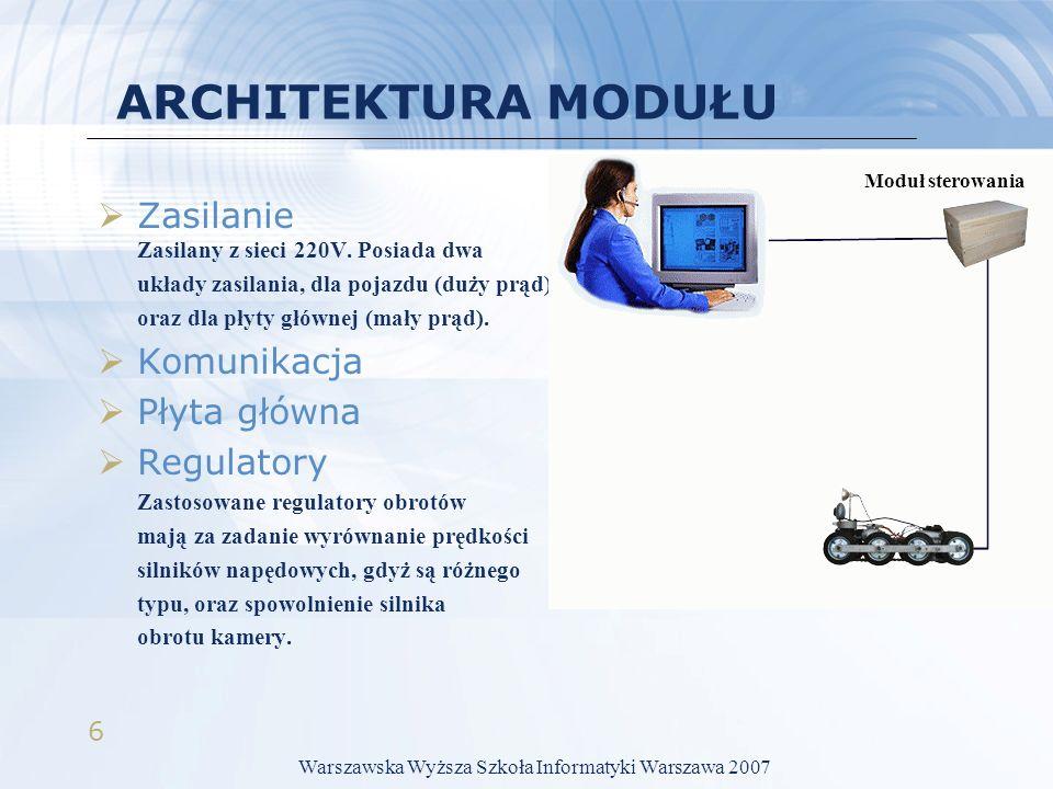 6 ARCHITEKTURA MODUŁU Zasilanie Zasilany z sieci 220V. Posiada dwa układy zasilania, dla pojazdu (duży prąd), oraz dla płyty głównej (mały prąd). Komu