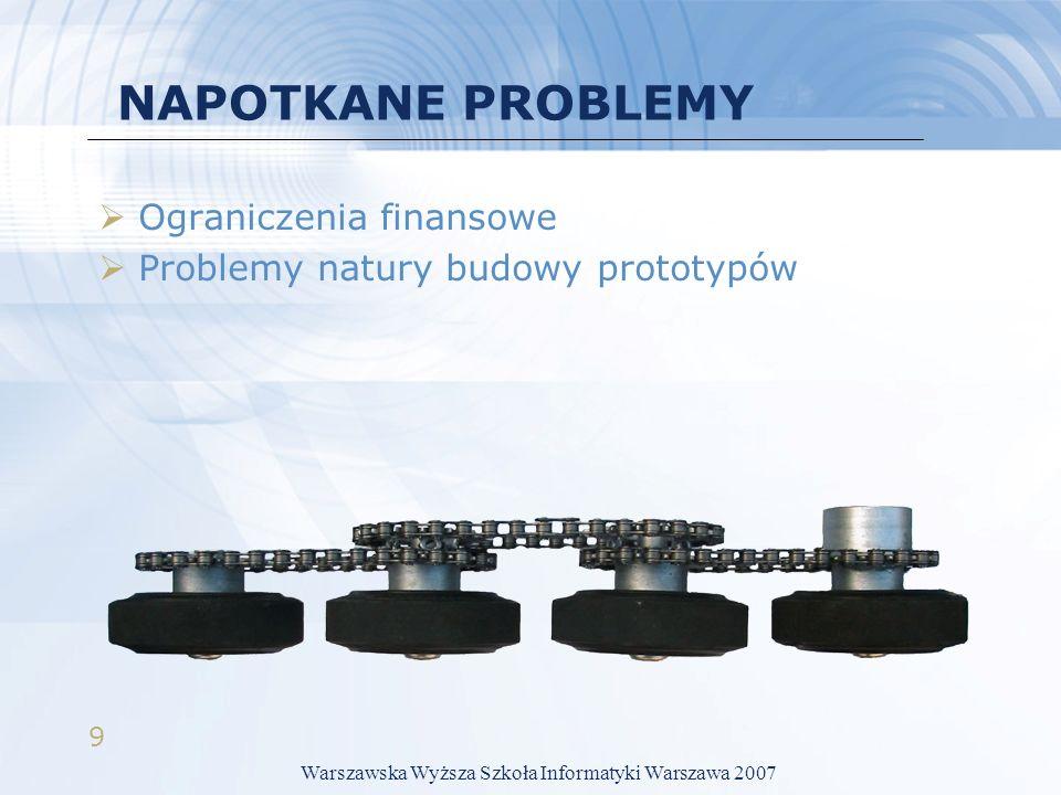 9 NAPOTKANE PROBLEMY Ograniczenia finansowe Problemy natury budowy prototypów Warszawska Wyższa Szkoła Informatyki Warszawa 2007