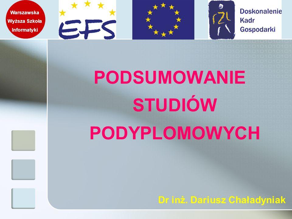 PODSUMOWANIE STUDIÓW PODYPLOMOWYCH Warszawska Wyższa Szkoła Informatyki Dr inż. Dariusz Chaładyniak